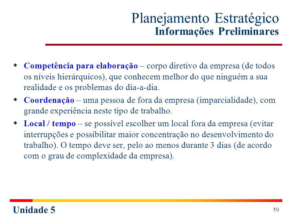 Unidade 5 50 Planejamento Estratégico Informações Preliminares Competência para elaboração – corpo diretivo da empresa (de todos os níveis hierárquico
