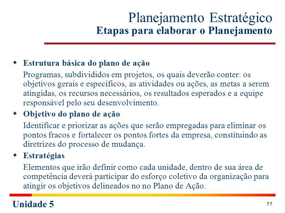 Unidade 5 56 Planejamento Estratégico Etapas para elaborar o Planejamento 4º Implantação Antes da implantação deve ser desenvolvido um trabalho de sensibilização, que consiste na preparação e conscientização dos recursos humanos sobre a importância do Plano de Ação.