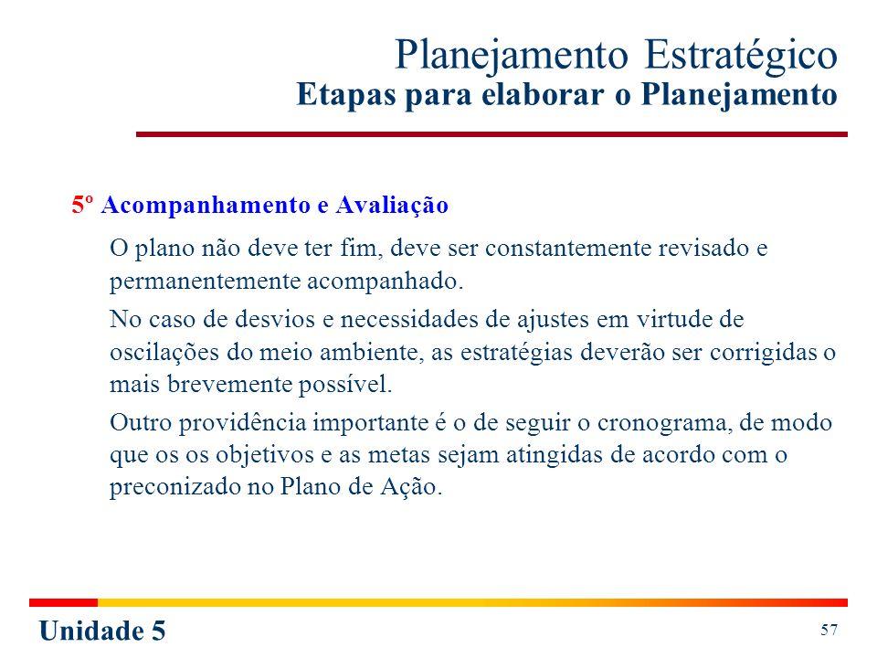 Unidade 5 57 Planejamento Estratégico Etapas para elaborar o Planejamento 5º Acompanhamento e Avaliação O plano não deve ter fim, deve ser constanteme