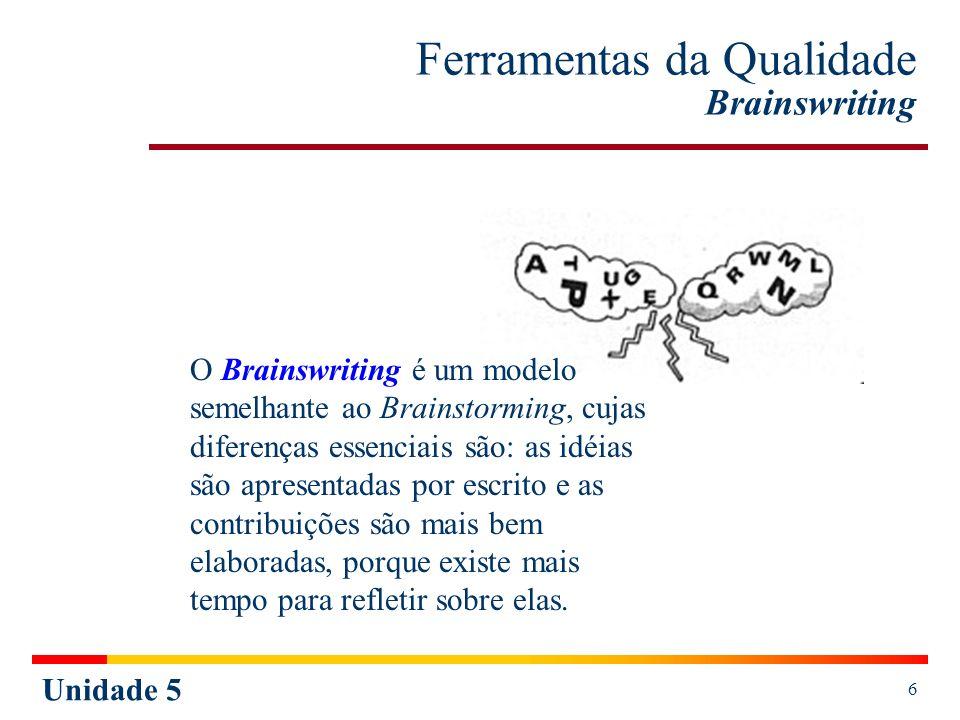 Unidade 5 6 Ferramentas da Qualidade Brainswriting O Brainswriting é um modelo semelhante ao Brainstorming, cujas diferenças essenciais são: as idéias
