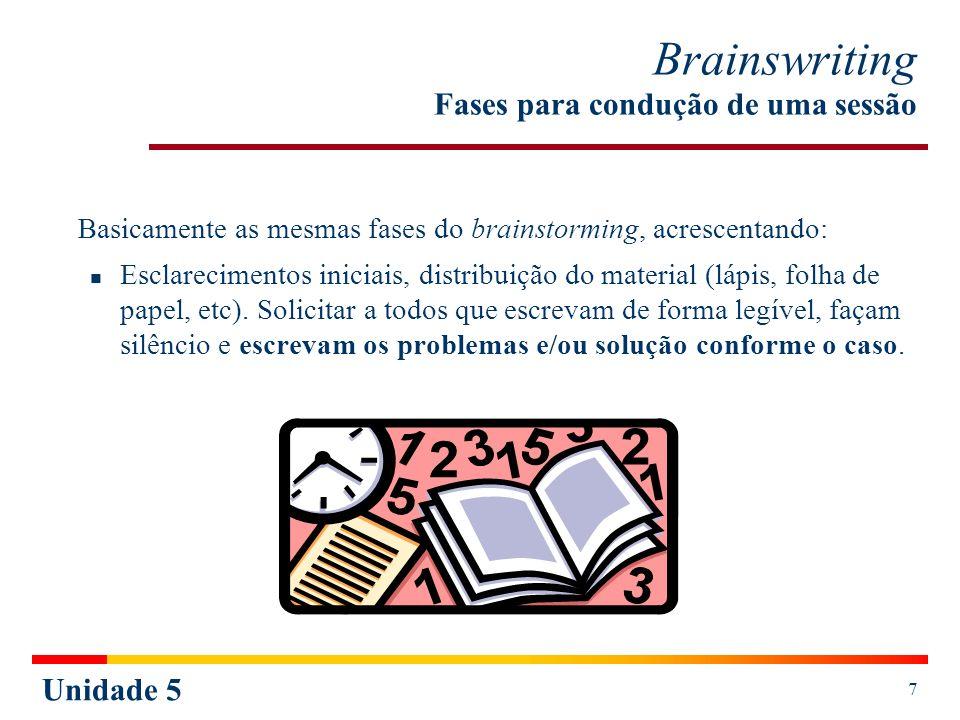 Unidade 5 7 Brainswriting Fases para condução de uma sessão Basicamente as mesmas fases do brainstorming, acrescentando: Esclarecimentos iniciais, dis