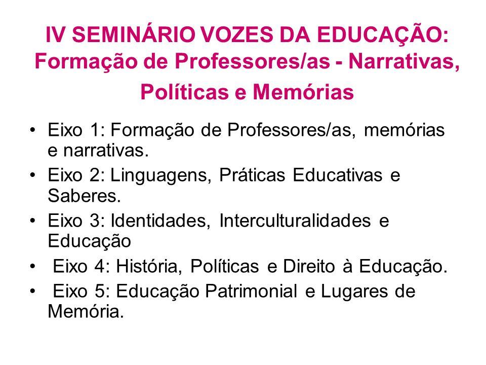 IV SEMINÁRIO VOZES DA EDUCAÇÃO: Formação de Professores/as - Narrativas, Políticas e Memórias Eixo 1: Formação de Professores/as, memórias e narrativa