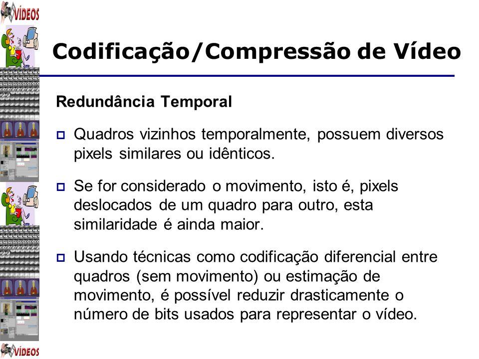 Codificação/Compressão de Vídeo Redundância Temporal Quadros vizinhos temporalmente, possuem diversos pixels similares ou idênticos. Se for considerad