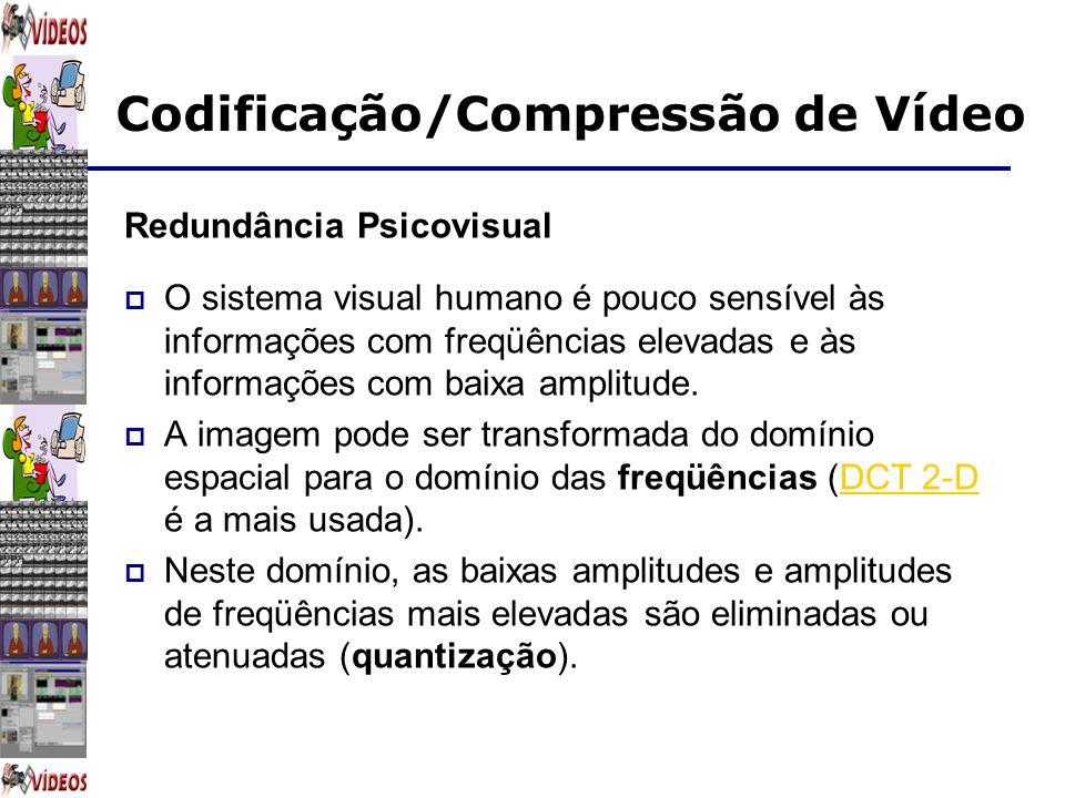 Codificação/Compressão de Vídeo Redundância Psicovisual O sistema visual humano é pouco sensível às informações com freqüências elevadas e às informaç