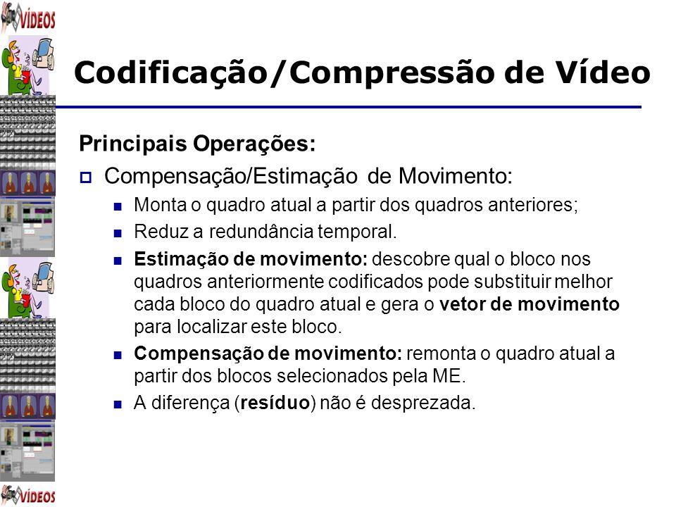 Codificação/Compressão de Vídeo Principais Operações: Compensação/Estimação de Movimento: Monta o quadro atual a partir dos quadros anteriores; Reduz