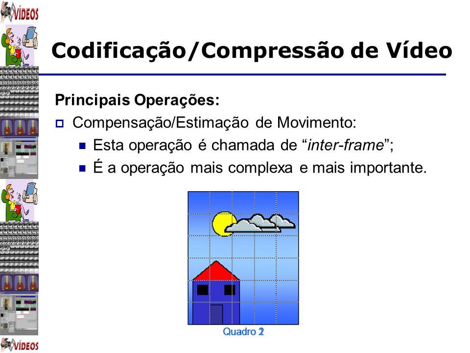 Codificação/Compressão de Vídeo Principais Operações: Compensação/Estimação de Movimento: Esta operação é chamada de inter-frame; É a operação mais co