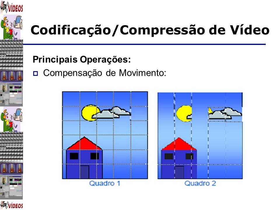 Codificação/Compressão de Vídeo Principais Operações: Compensação de Movimento:
