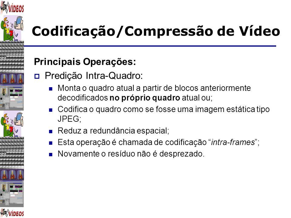 Codificação/Compressão de Vídeo Principais Operações: Predição Intra-Quadro: Monta o quadro atual a partir de blocos anteriormente decodificados no pr