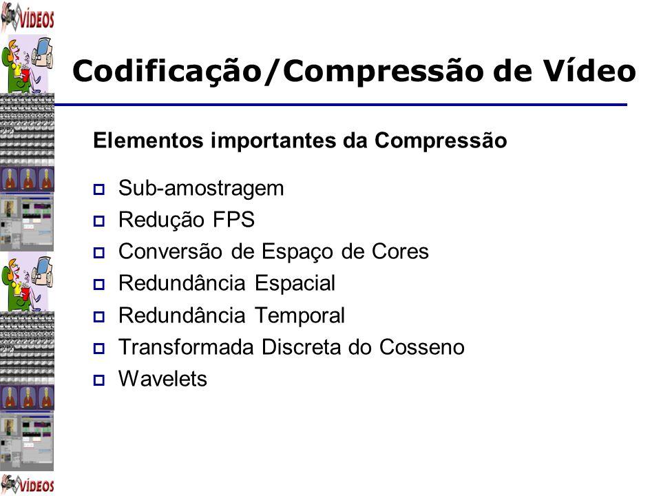 Codificação/Compressão de Vídeo Elementos importantes da Compressão Sub-amostragem Redução FPS Conversão de Espaço de Cores Redundância Espacial Redun