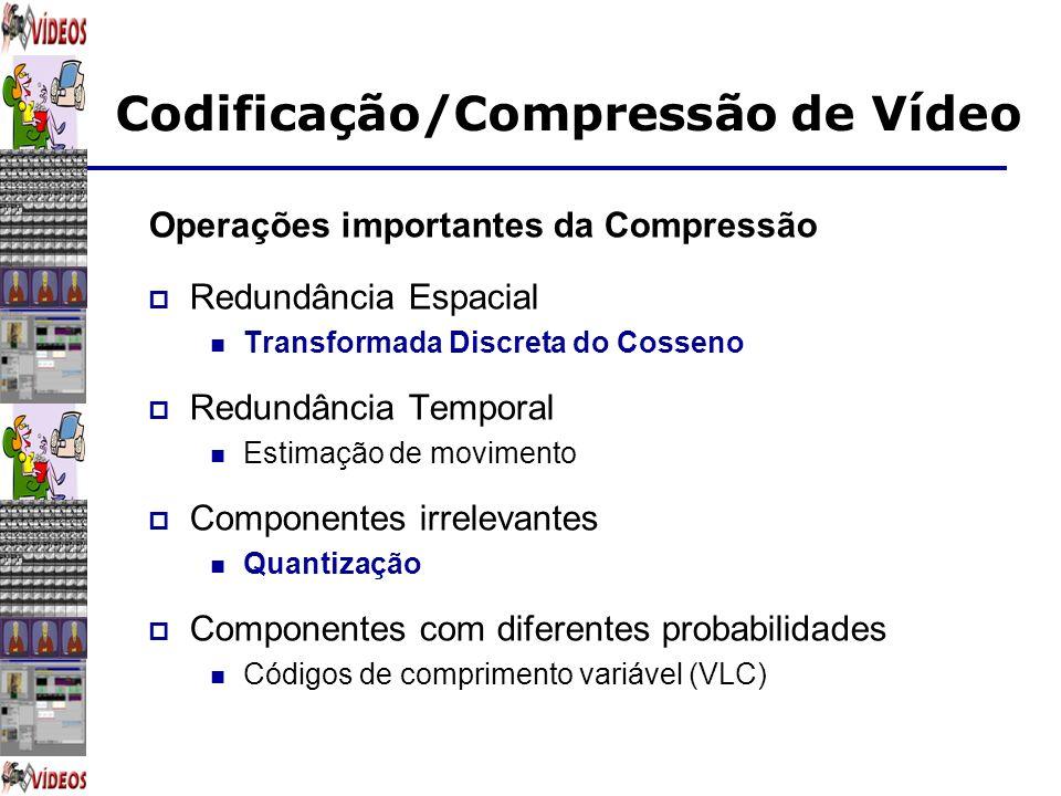 Codificação/Compressão de Vídeo Operações importantes da Compressão Redundância Espacial Transformada Discreta do Cosseno Redundância Temporal Estimaç