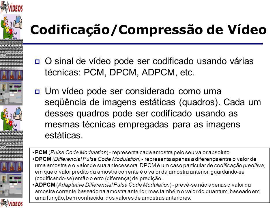 Codificação/Compressão de Vídeo O sinal de vídeo pode ser codificado usando várias técnicas: PCM, DPCM, ADPCM, etc. Um vídeo pode ser considerado como