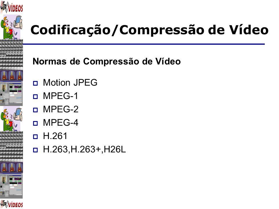 Codificação/Compressão de Vídeo Normas de Compressão de Vídeo Motion JPEG MPEG-1 MPEG-2 MPEG-4 H.261 H.263,H.263+,H26L