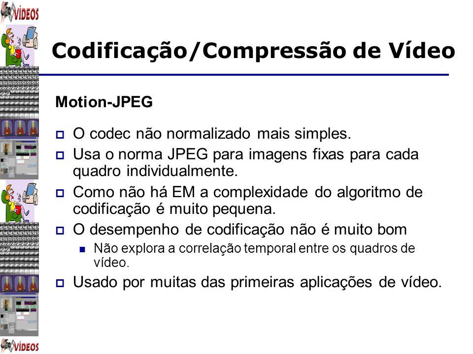 Codificação/Compressão de Vídeo Motion-JPEG O codec não normalizado mais simples. Usa o norma JPEG para imagens fixas para cada quadro individualmente