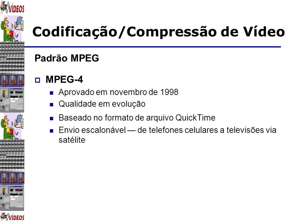 Codificação/Compressão de Vídeo Padrão MPEG MPEG-4 Aprovado em novembro de 1998 Qualidade em evolução Baseado no formato de arquivo QuickTime Envio es