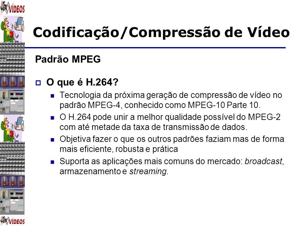 Codificação/Compressão de Vídeo Padrão MPEG O que é H.264? Tecnologia da próxima geração de compressão de vídeo no padrão MPEG-4, conhecido como MPEG-