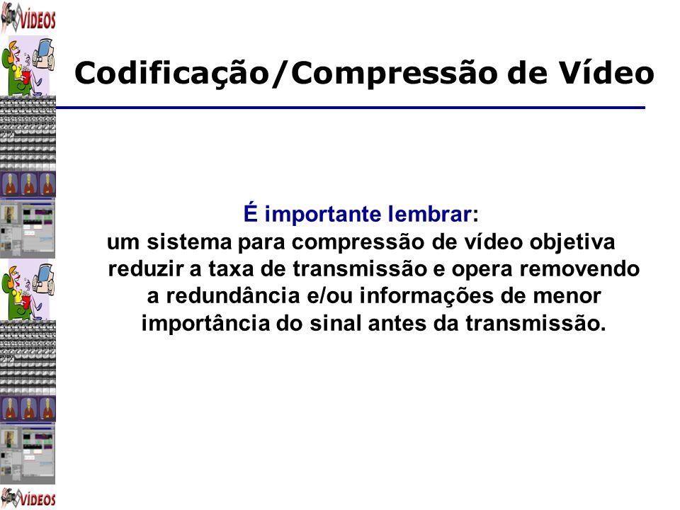 Codificação/Compressão de Vídeo É importante lembrar: um sistema para compressão de vídeo objetiva reduzir a taxa de transmissão e opera removendo a r