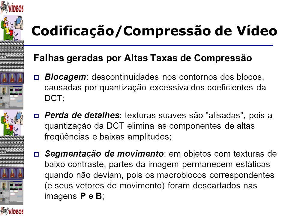 Codificação/Compressão de Vídeo Falhas geradas por Altas Taxas de Compressão Blocagem: descontinuidades nos contornos dos blocos, causadas por quantiz
