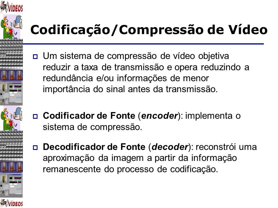 Codificação/Compressão de Vídeo Um sistema de compressão de vídeo objetiva reduzir a taxa de transmissão e opera reduzindo a redundância e/ou informaç