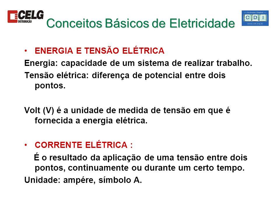 Conceitos Básicos de Eletricidade ENERGIA E TENSÃO ELÉTRICA Energia: capacidade de um sistema de realizar trabalho. Tensão elétrica: diferença de pote