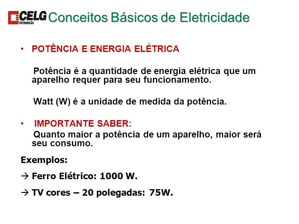 POTÊNCIA E ENERGIA ELÉTRICA Potência é a quantidade de energia elétrica que um aparelho requer para seu funcionamento. Watt (W) é a unidade de medida