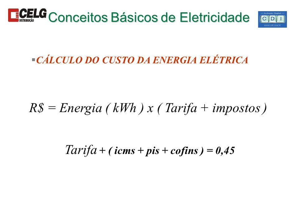 Conceitos Básicos de Eletricidade §CÁLCULO DO CUSTO DA ENERGIA ELÉTRICA R$ = Energia ( kWh ) x ( Tarifa + impostos ) Tarifa + ( icms + pis + cofins )