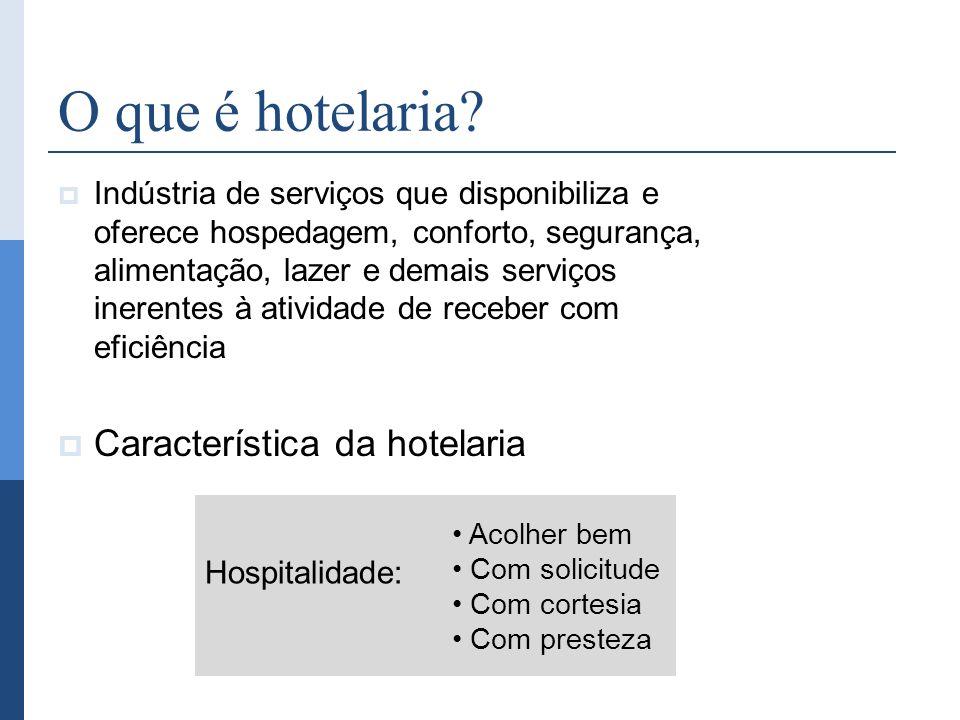 O que é hotelaria? Indústria de serviços que disponibiliza e oferece hospedagem, conforto, segurança, alimentação, lazer e demais serviços inerentes à