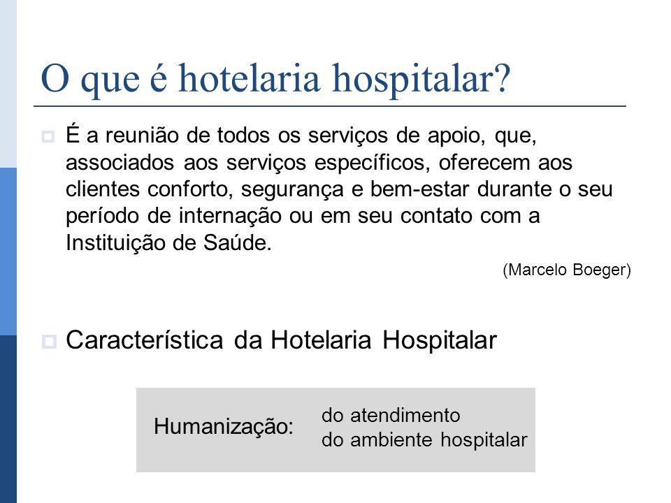 O que é hotelaria hospitalar? É a reunião de todos os serviços de apoio, que, associados aos serviços específicos, oferecem aos clientes conforto, seg