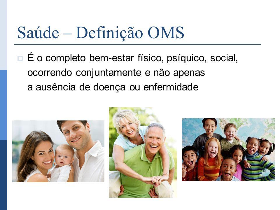 É o completo bem-estar físico, psíquico, social, ocorrendo conjuntamente e não apenas a ausência de doença ou enfermidade Saúde – Definição OMS