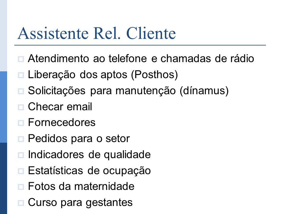 Assistente Rel. Cliente Atendimento ao telefone e chamadas de rádio Liberação dos aptos (Posthos) Solicitações para manutenção (dínamus) Checar email
