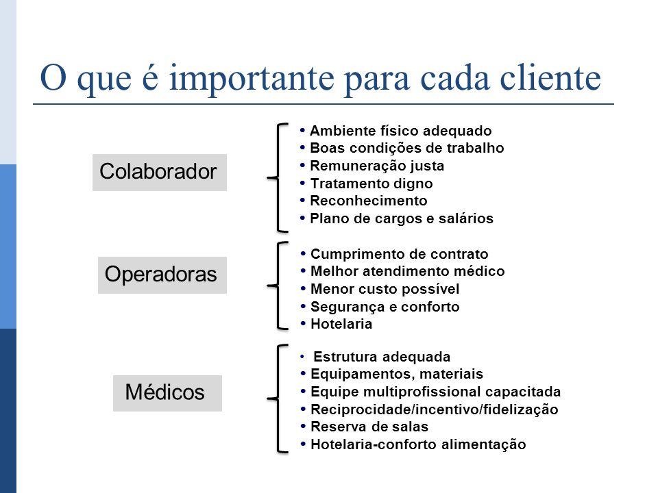 O que é importante para cada cliente Ambiente físico adequado Boas condições de trabalho Remuneração justa Tratamento digno Reconhecimento Plano de ca