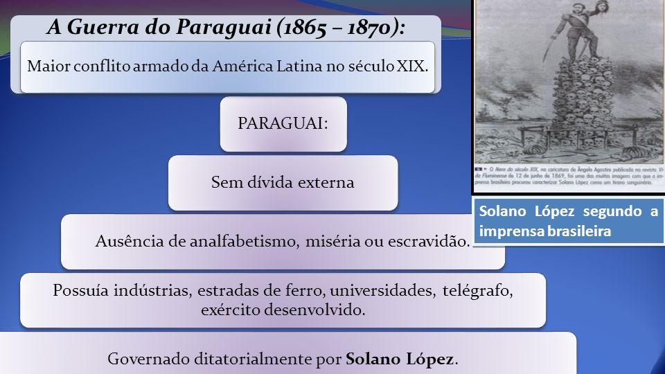PARAGUAI:Sem dívida externaAusência de analfabetismo, miséria ou escravidão. Possuía indústrias, estradas de ferro, universidades, telégrafo, exército