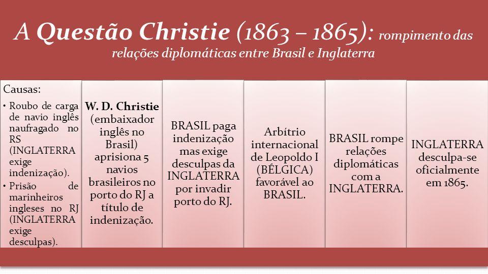 A Questão Christie (1863 – 1865): rompimento das relações diplomáticas entre Brasil e Inglaterra Causas: Roubo de carga de navio inglês naufragado no