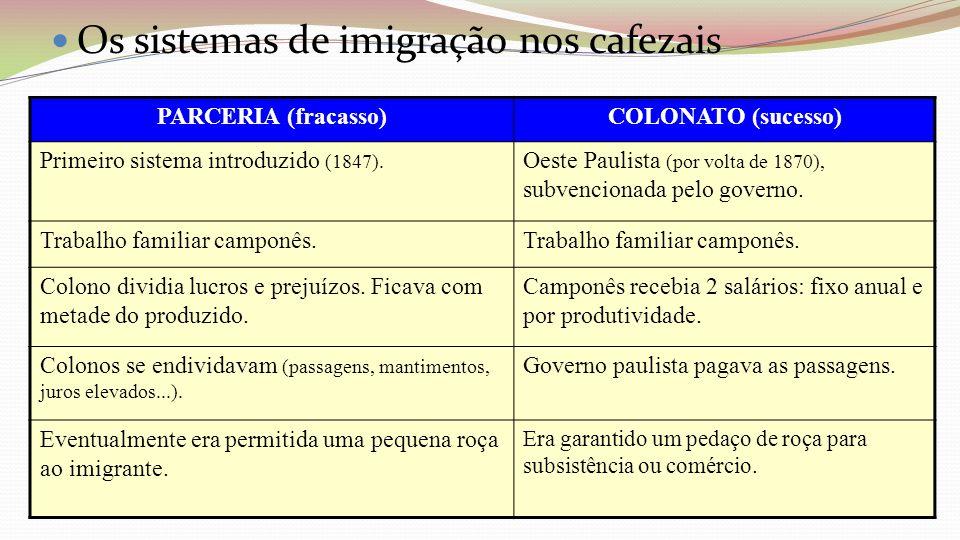 Os sistemas de imigração nos cafezais PARCERIA (fracasso)COLONATO (sucesso) Primeiro sistema introduzido (1847). Oeste Paulista (por volta de 1870), s
