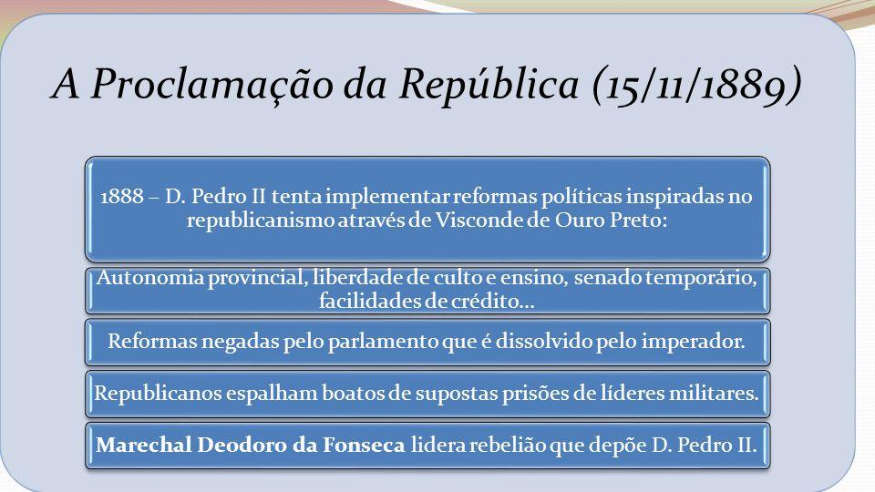 A Proclamação da República (15/11/1889) 1888 – D. Pedro II tenta implementar reformas políticas inspiradas no republicanismo através de Visconde de Ou