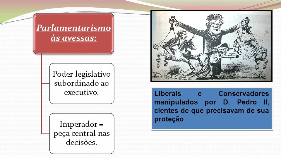 Parlamentarismo às avessas: Poder legislativo subordinado ao executivo. Imperador = peça central nas decisões. D. PEDRO II Liberais e Conservadores ma