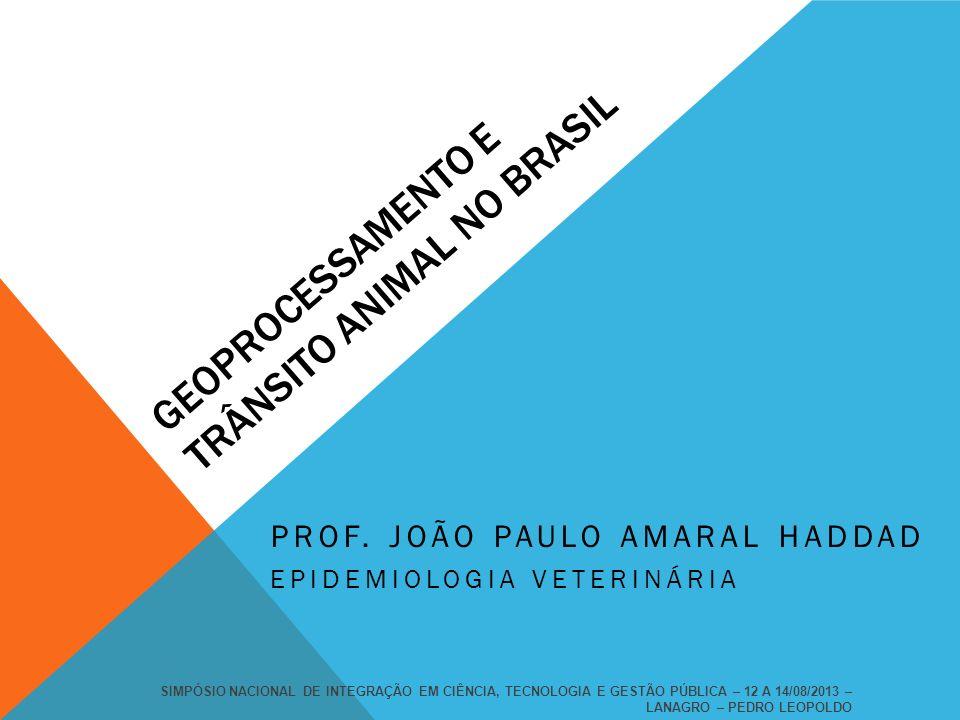 GEOPROCESSAMENTO E TRÂNSITO ANIMAL NO BRASIL PROF. JOÃO PAULO AMARAL HADDAD EPIDEMIOLOGIA VETERINÁRIA SIMPÓSIO NACIONAL DE INTEGRAÇÃO EM CIÊNCIA, TECN