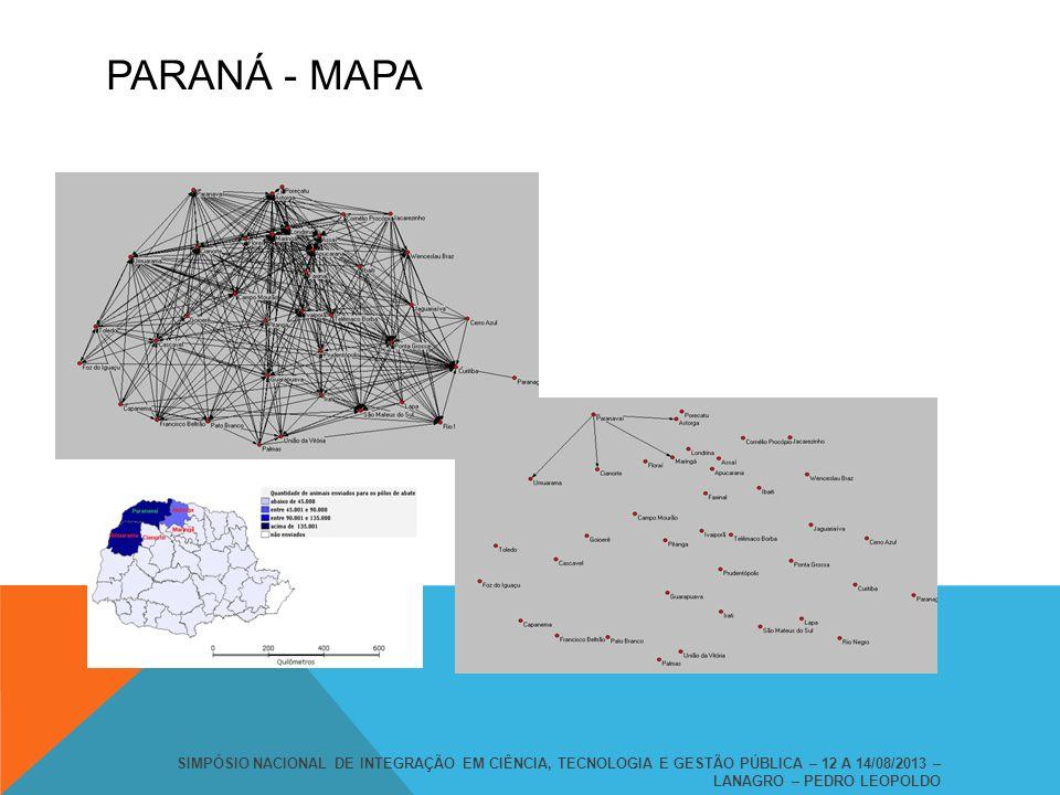 PARANÁ - MAPA SIMPÓSIO NACIONAL DE INTEGRAÇÃO EM CIÊNCIA, TECNOLOGIA E GESTÃO PÚBLICA – 12 A 14/08/2013 – LANAGRO – PEDRO LEOPOLDO