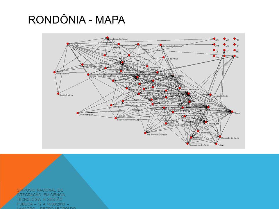 RONDÔNIA - MAPA SIMPÓSIO NACIONAL DE INTEGRAÇÃO EM CIÊNCIA, TECNOLOGIA E GESTÃO PÚBLICA – 12 A 14/08/2013 – LANAGRO – PEDRO LEOPOLDO