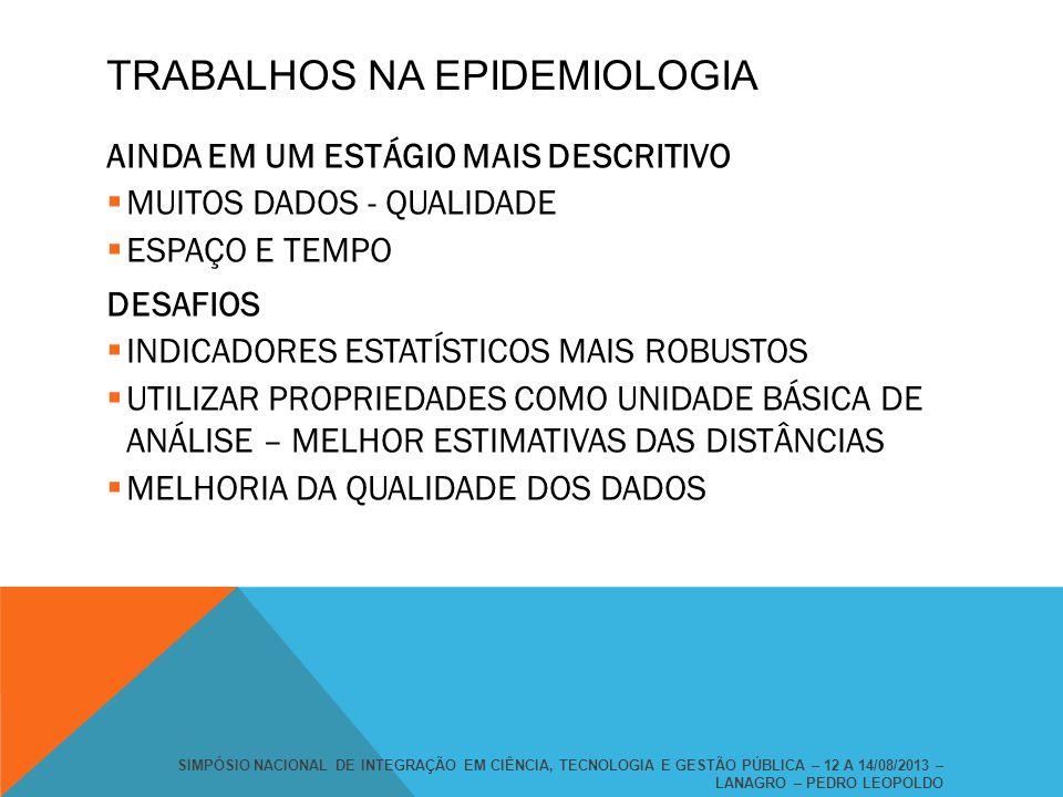 TRABALHOS NA EPIDEMIOLOGIA AINDA EM UM ESTÁGIO MAIS DESCRITIVO MUITOS DADOS - QUALIDADE ESPAÇO E TEMPO DESAFIOS INDICADORES ESTATÍSTICOS MAIS ROBUSTOS