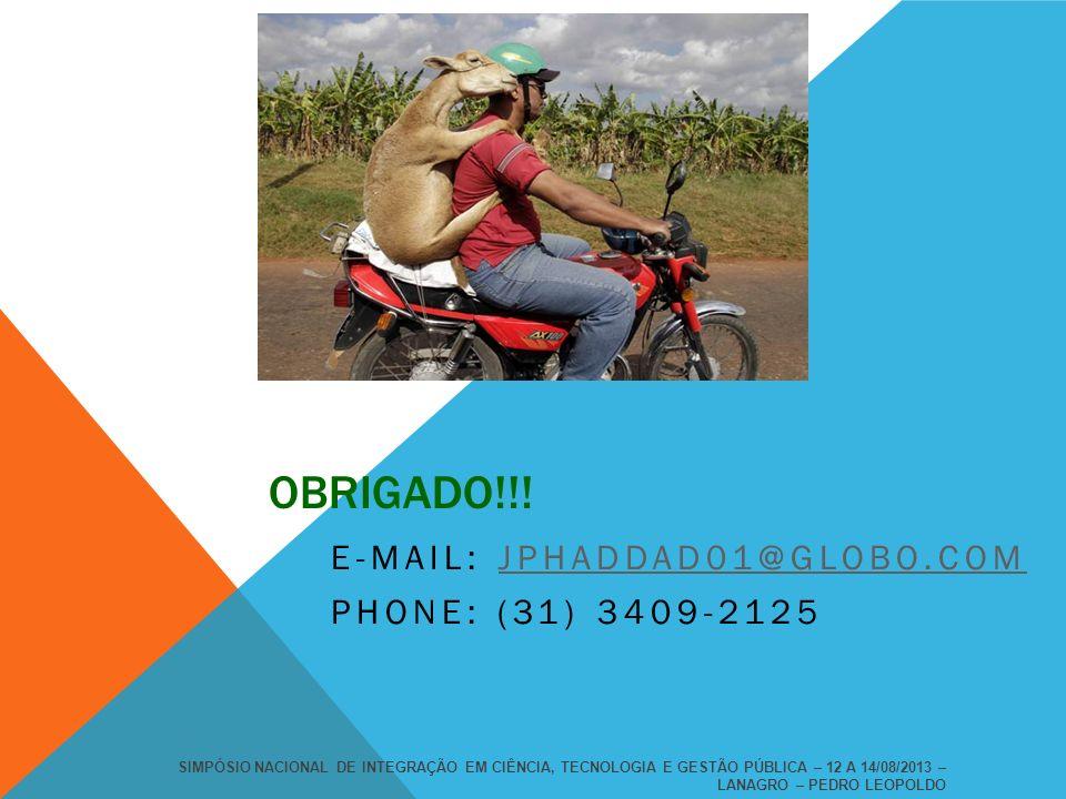 OBRIGADO!!! E-MAIL: JPHADDAD01@GLOBO.COMJPHADDAD01@GLOBO.COM PHONE: (31) 3409-2125 SIMPÓSIO NACIONAL DE INTEGRAÇÃO EM CIÊNCIA, TECNOLOGIA E GESTÃO PÚB