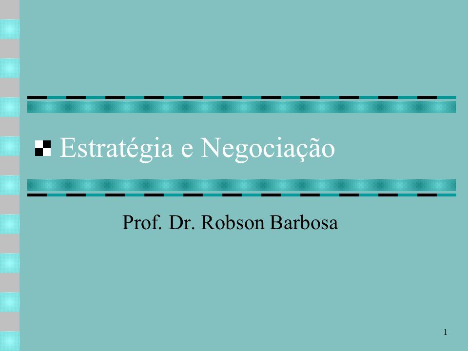 1 Estratégia e Negociação Prof. Dr. Robson Barbosa