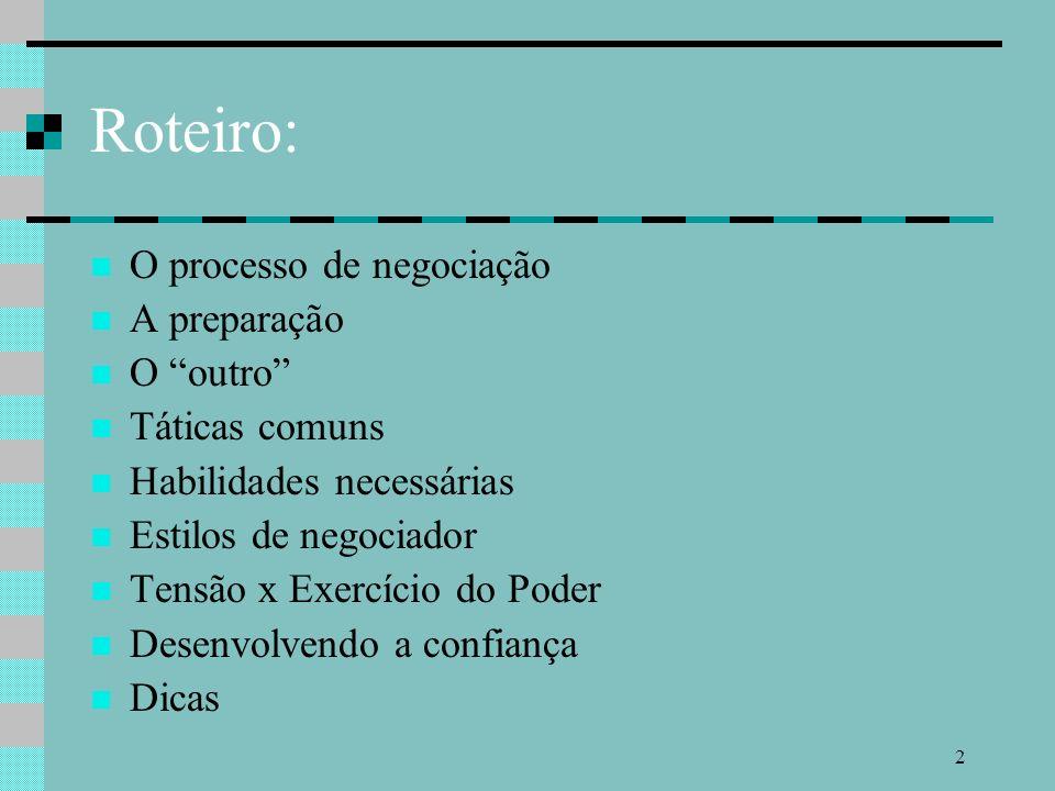 2 Roteiro: O processo de negociação A preparação O outro Táticas comuns Habilidades necessárias Estilos de negociador Tensão x Exercício do Poder Desenvolvendo a confiança Dicas