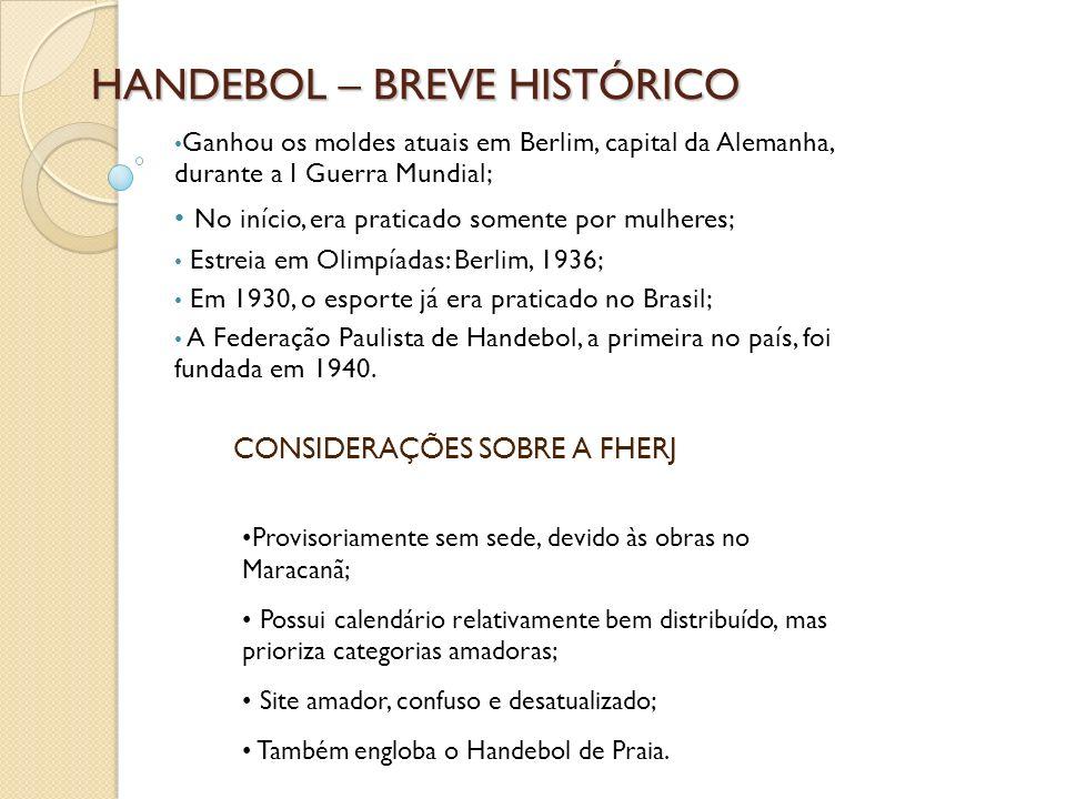 HANDEBOL – BREVE HISTÓRICO Ganhou os moldes atuais em Berlim, capital da Alemanha, durante a I Guerra Mundial; No início, era praticado somente por mu