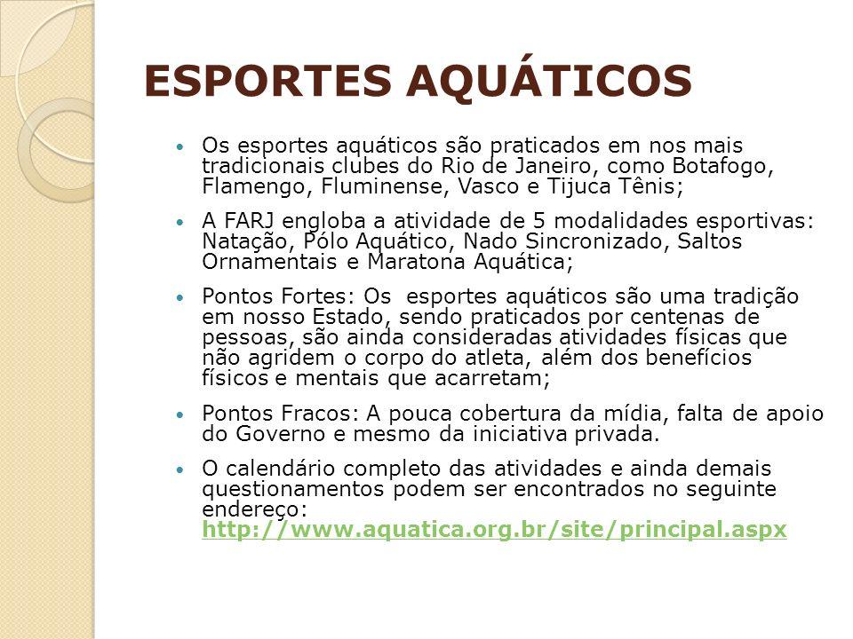 ESPORTES AQUÁTICOS Os esportes aquáticos são praticados em nos mais tradicionais clubes do Rio de Janeiro, como Botafogo, Flamengo, Fluminense, Vasco
