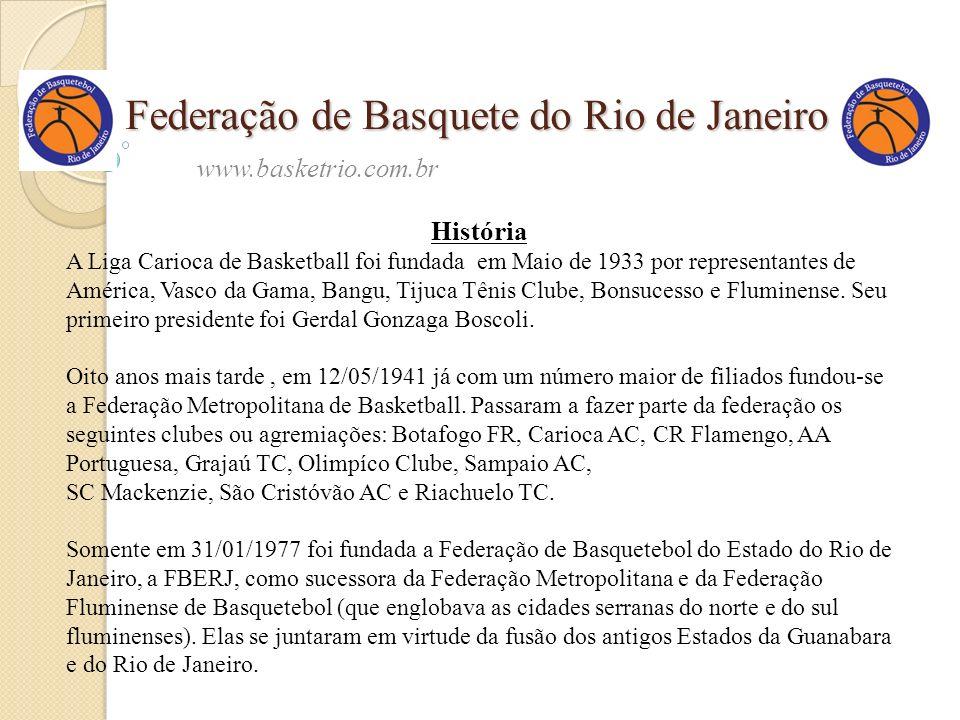 Federação de Basquete do Rio de Janeiro www.basketrio.com.br História A Liga Carioca de Basketball foi fundada em Maio de 1933 por representantes de A