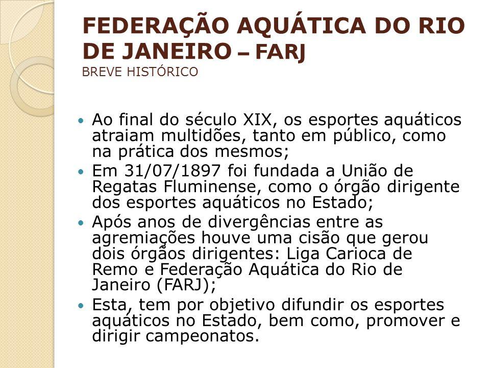 FEDERAÇÃO AQUÁTICA DO RIO DE JANEIRO – FARJ BREVE HISTÓRICO Ao final do século XIX, os esportes aquáticos atraiam multidões, tanto em público, como na