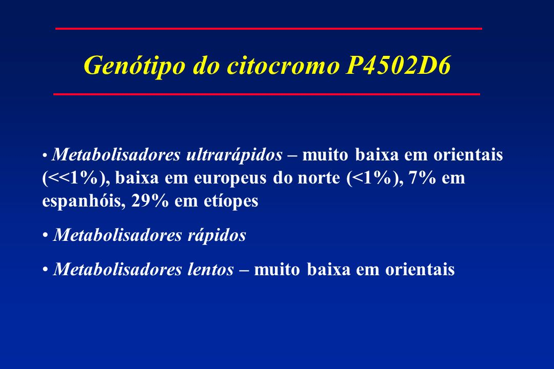Genótipo do citocromo P4502D6 Metabolisadores ultrarápidos – muito baixa em orientais (<<1%), baixa em europeus do norte (<1%), 7% em espanhóis, 29% e