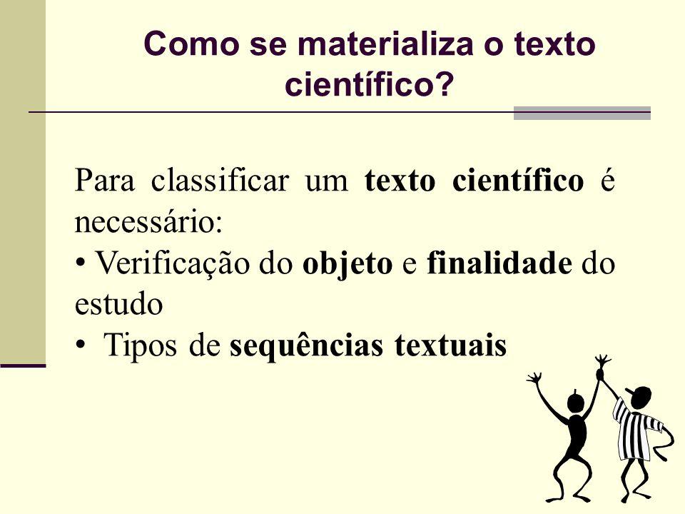 Como se materializa o texto científico? Para classificar um texto científico é necessário: Verificação do objeto e finalidade do estudo Tipos de sequê