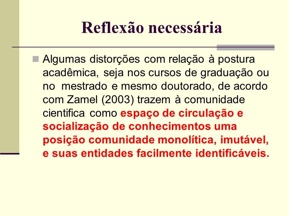 Reflexão necessária Algumas distorções com relação à postura acadêmica, seja nos cursos de graduação ou no mestrado e mesmo doutorado, de acordo com Z