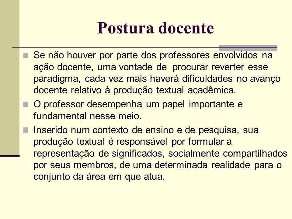 Postura docente Se não houver por parte dos professores envolvidos na ação docente, uma vontade de procurar reverter esse paradigma, cada vez mais hav